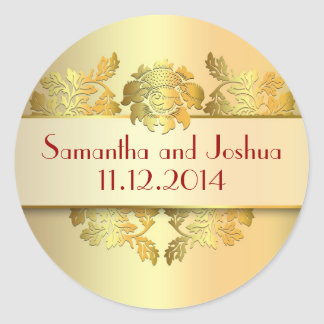 yellow golden save the date stickers