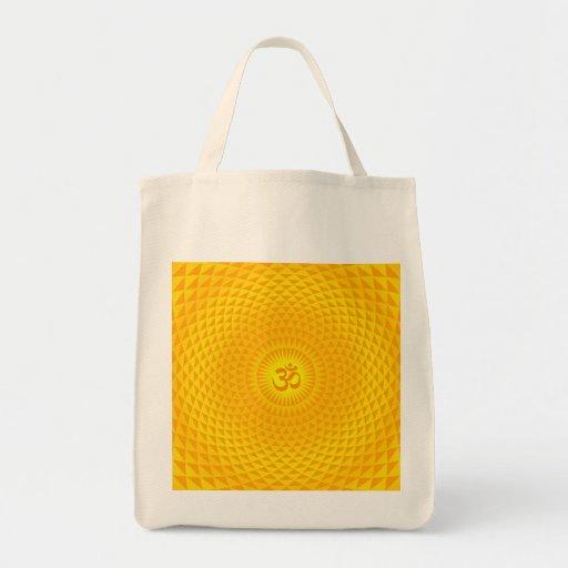 Yellow Golden Sun Lotus flower meditation wheel OM Bag