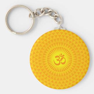 Yellow Golden Sun Lotus flower meditation wheel OM Basic Round Button Keychain