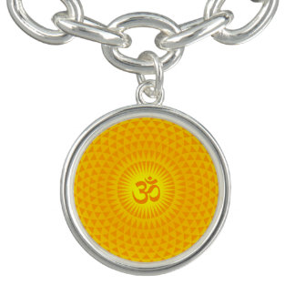 Yellow Golden Sun Lotus flower meditation wheel OM Bracelets
