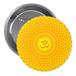 Yellow Golden Sun Lotus flower meditation wheel OM Pins