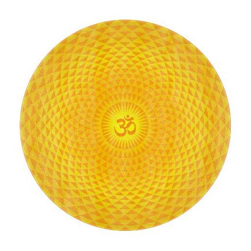 Yellow Golden Sun Lotus flower meditation wheel OM Cutting Board