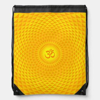 Yellow Golden Sun Lotus flower meditation wheel OM Drawstring Bags