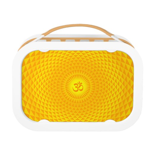 Yellow Golden Sun Lotus flower meditation wheel OM Lunch Boxes