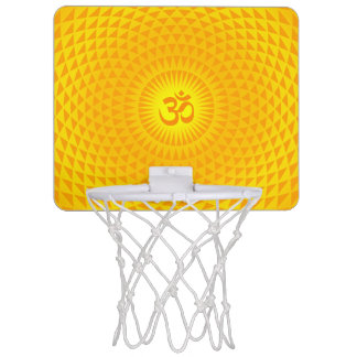 Yellow Golden Sun Lotus flower meditation wheel OM Mini Basketball Hoops