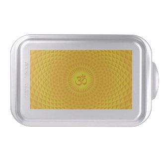 Yellow Golden Sun Lotus flower meditation wheel OM Cake Pan