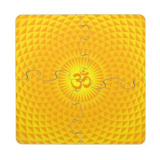 Yellow Golden Sun Lotus flower meditation wheel OM Puzzle Coaster