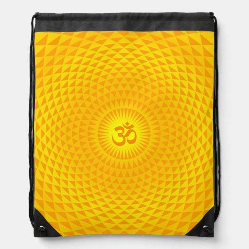 Yellow Golden Sun Lotus flower meditation wheel OM Drawstring Backpack