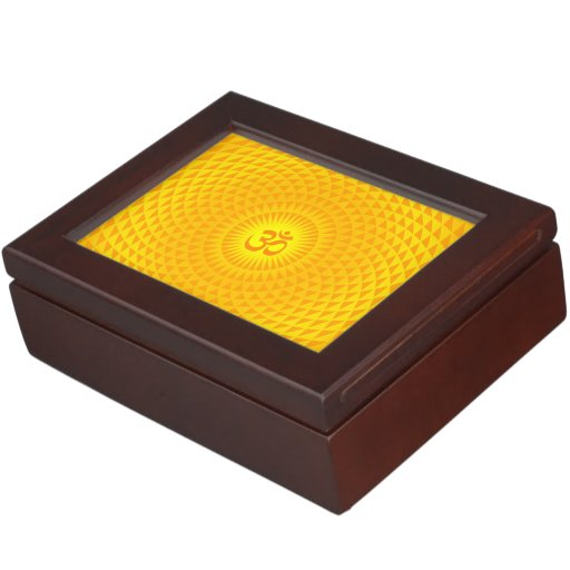 Yellow Golden Sun Lotus flower meditation wheel OM Keepsake Box