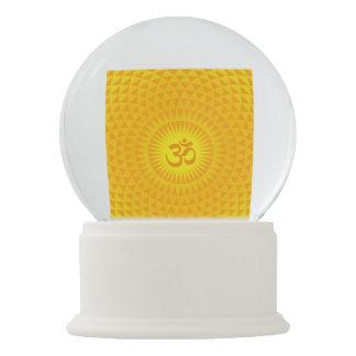 Yellow Golden Sun Lotus flower meditation wheel OM Snow Globe