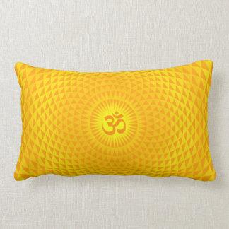 Yellow Golden Sun Lotus flower meditation wheel OM Throw Pillow