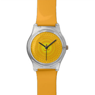 Yellow Golden Sun Lotus flower meditation wheel OM Watches