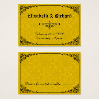Yellow Gothic Victorian Damask Wedding Place Cards