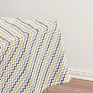 Yellow, Gray, and White Chevron Pattern Tablecloth