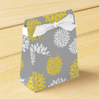 Yellow, Gray and White Floral Pattern Favor Box