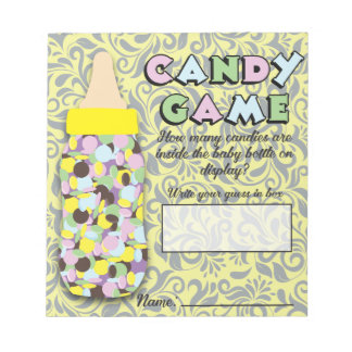 Yellow & Gray Baby Bottle Candy Guessing Game Notepad