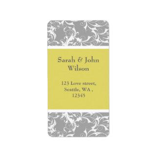 yellow gray Baroque Wedding Label