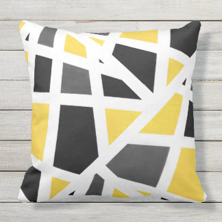 Yellow Gray Black White Geometric Abstract Throw Pillow