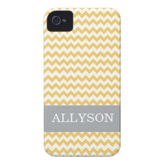 Yellow & Gray Chevron Case Mate  iPhone 4 Case