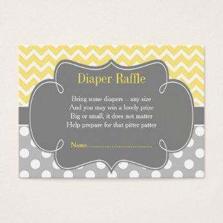 Yellow & Gray Chevron Diaper Raffle Business Card
