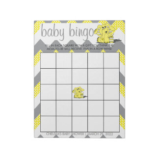 Yellow & Gray Chevron Elephant Baby Shower Bingo 2 Notepad