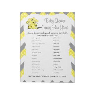 Yellow & Gray Chevron Elephant Baby Shower Game 2 Notepad