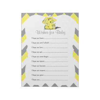 Yellow & Gray Chevron Elephant Baby Wishes Notepad