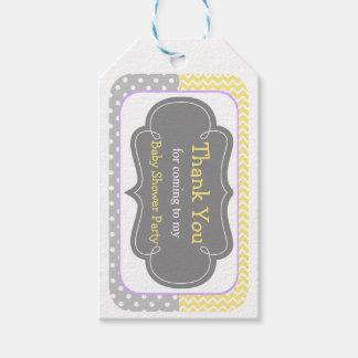 Yellow & Gray Chevron Thank You Gift Tag