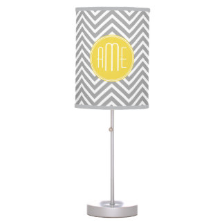 Yellow Gray Chevrons Custom Monogram Table Lamp