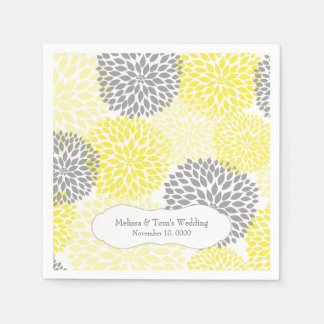 Yellow Gray Dahlia mums / your own wording Disposable Napkins