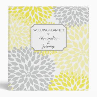 Yellow Gray Dahlia wedding planner binder
