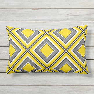Yellow Gray Diamond Geometric Lumbar Pillow