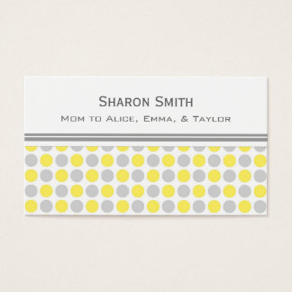 Yellow Gray Dots Pattern Mom Calling Cards