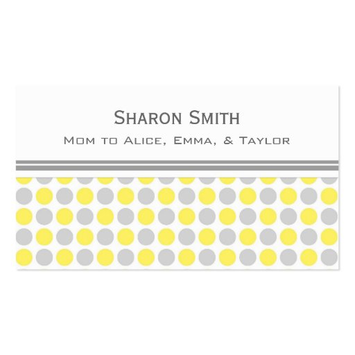 Yellow Gray Dots Pattern Mom Calling Cards Business Card