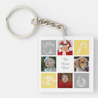 yellow gray eight photos collage acrylic key chain