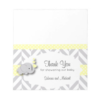 Yellow & Gray Elephant Baby Shower | Candy Toppers Notepad