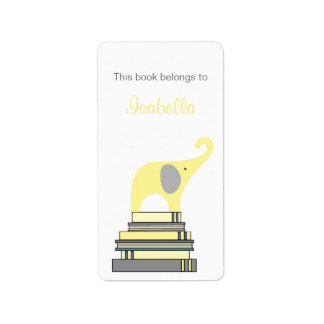 Yellow & Gray Elephant on books bookplate Label