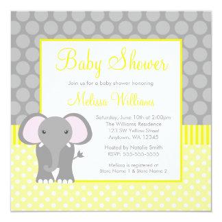 Yellow Gray Elephant Polka Dot Boy Baby Shower Card