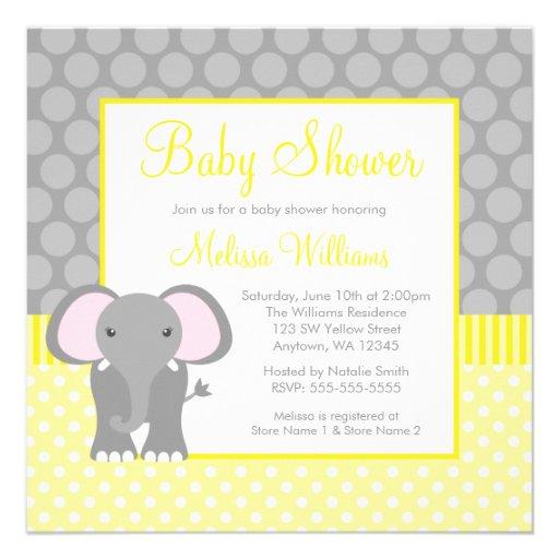 Yellow Gray Elephant Polka Dot Boy Baby Shower Custom Invites