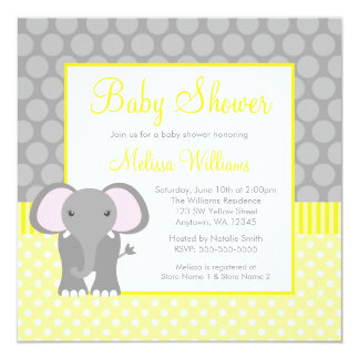 Yellow Gray Elephant Polka Dot Boy Baby Shower 5.25x5.25 Square Paper Invitation Card