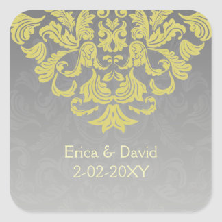 """yellow gray"" envelope seal square sticker"