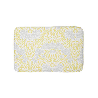 Yellow Gray Floral Damask Pattern Bath Mat