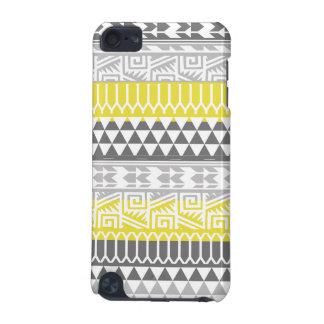 Yellow Gray Geometric Aztec Tribal Print Pattern iPod Touch (5th Generation) Case