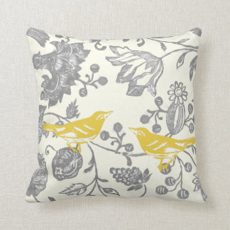 Yellow Gray Ivory Vintage Floral Bird Pattern Throw Pillow