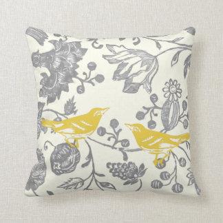 Yellow Gray Ivory Vintage Floral Bird Pattern Throw Pillow