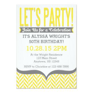 "Yellow Gray Modern Herringbone Birthday Invitation 5"" X 7"" Invitation Card"