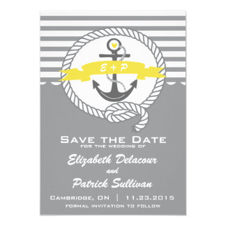 Yellow & Gray Nautical Save The Date Announcement