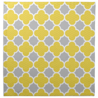 Yellow & Gray Quatrefoil Geometric Pattern Napkin