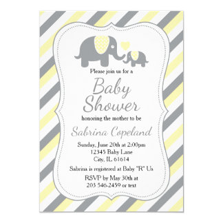 Yellow & Gray Stripes Elephant  | Baby Shower Card