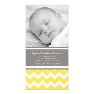 Yellow Gray Thank You Baby Shower Photo Cards